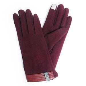Tigerstars Burgundy Knit Leather Trim Gloves